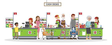 Las personas en la tienda de comestibles se paran en el cajero y pagan la comida con tarjeta de crédito. Vendedoras sonrientes en uniforme en el mostrador. Ilustración de vector plano aislado