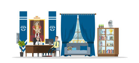 Univercity chancellor office interior with bookshelf, plants, safe and painting. Student talking to chancellor. Education and knowledge. Isolated vector flat illustration Ilustração
