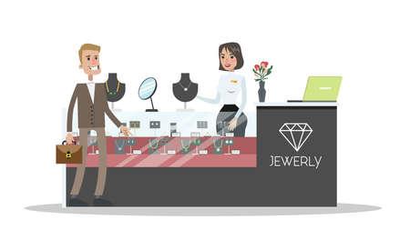 Uomo in piedi in una gioielleria, in cerca di un regalo e parlando con una venditrice. Accessori moda in vetrina. Illustrazione vettoriale piatto isolato