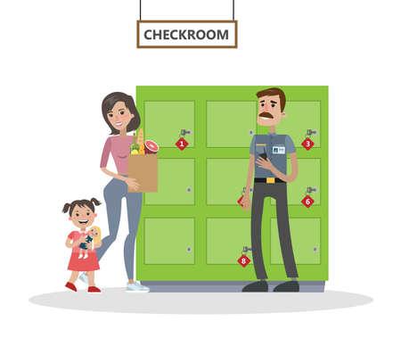 Donna e figlia che camminano al supermercato o al centro commerciale. Signora che va all'armadietto per mettere le sue cose nella cassetta di sicurezza. Illustrazione vettoriale piatto isolato Vettoriali