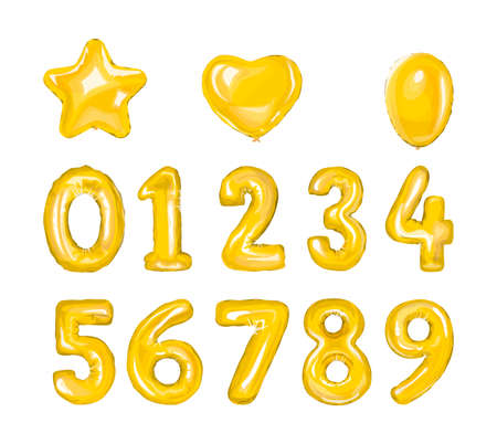 Set of golden number balloons. Helium balloon in heart and star shape.Decoration for birthday party. Isolated vector illustration Vector Illustration
