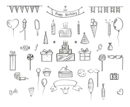 Set of hand drawn birthday icons. Cute doodle collection with party hat, confetti and balloons. Isolated vector illustration