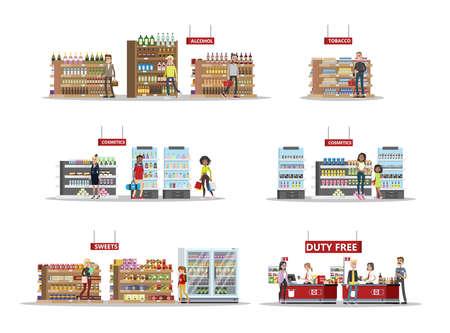 Juego de compras libres de impuestos. Personas que compran productos baratos: alcohol, perfumes y chocolate. Libre de impuestos. Ilustración vectorial plana