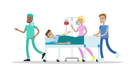 Medical team take patient to operation room. Emergency surgery. Isolated vector flat illustration