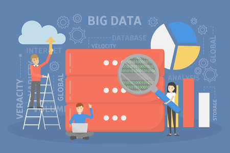Big data concept. Modern computer technology. Analyzing digital information from the internet and making better business decisions. Isolated flat vector illustration