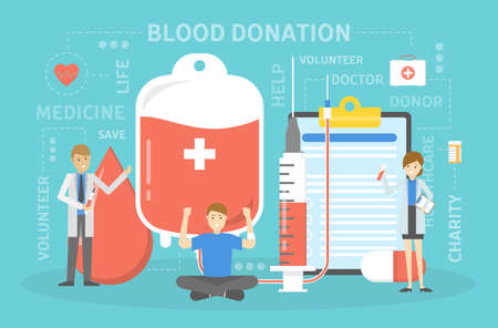 Blood donation concept. Give blood and save life, become donor. Idea of charity and help. Flat vector illustration