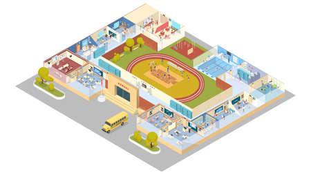 Wnętrze szkoły lub uczelni z biblioteką, siłownią, salą wykładową i jadalnią. Ilustracje wektorowe