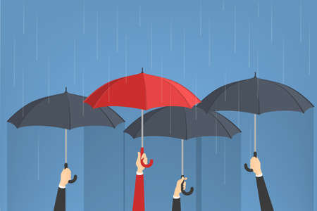 Hand holding umbrellas. One man with red umbrella around group of grey ones. Idea of individuality. Isolated vector illustration in cartoon style
