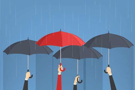 Ombrelli della tenuta della mano. Un uomo con l'ombrello rosso intorno al gruppo di quelli grigi. Idea di individualità. Illustrazione vettoriale isolato in stile cartone animato Vettoriali