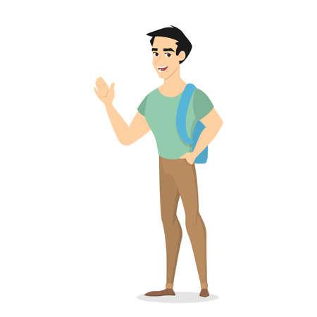 Joven guapo personaje masculino sonriente de pie con mochila y agitando su mano. Vista frontal de un hombre en ropa casual saludando. Ilustración de vector aislado en estilo de dibujos animados Ilustración de vector