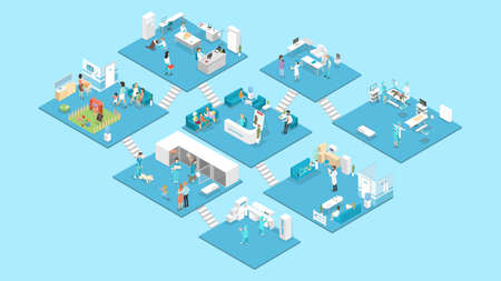 Veterinary clinic interior with reception, waiting hall, examination and operating rooms. Animal treatment. Doctors and sick pets. Isolated isometric vector illustration