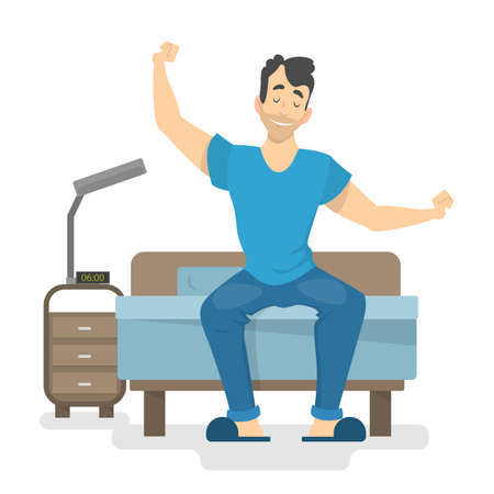 Szczęśliwy człowiek budzi się wcześnie na początku dobrego dnia. Facet siedzący na łóżku. Ilustracja wektorowa na białym tle w stylu kreskówki