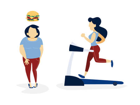Fat and thin woman. Over weight woman thinking about unhealthy food and slim woman running on a treadmill. From thick to skinny. Isolated flat vector illustration Vettoriali