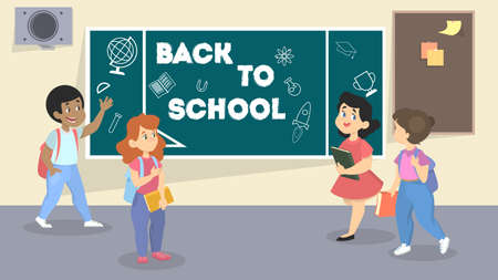 Back to school. Happy children in the classroom with chalkboard . Pupils and students get education. Vector illustration in cartoon style Ilustração