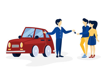 Young happy couple buying new red car. Salesman giving keys to the buyer. Isolated flat vector illustration