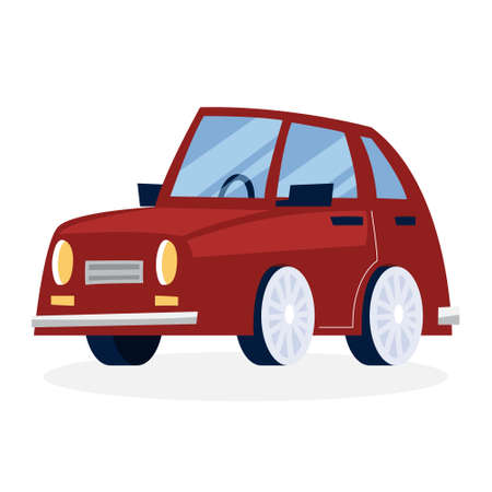 Funny cartoon red car. Vehicle design. Isolated flat vector illustration