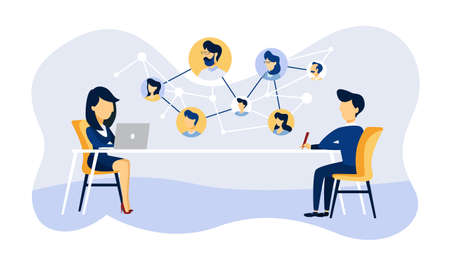 Online job interview. Human resources manager looking for a job candidate in the internet. Recruitment concept. Flat vector illustration Vektorové ilustrace