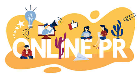 Online PR concept. Idea of making announcements through the internet to advertise your business. Management and marketing strategy. Flat vector illustration