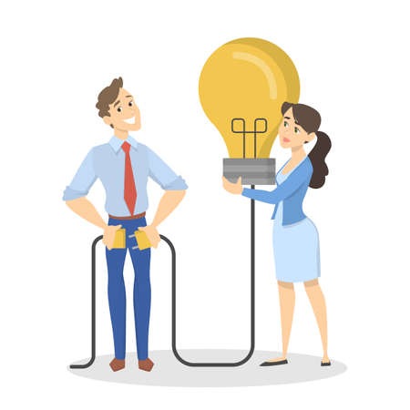 Man and woman have a great idea. People standing and holding a big bulb. Lightbulb as a metaphor of idea. Isolated vector illustration in cartoon style