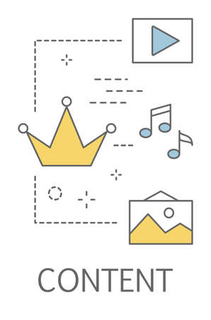 Content concept. Sharing media on the website. Advertising and promotion in the internet. Business strategy. Line icon set with crown, picture and play. Isolated vector illustration Illustration