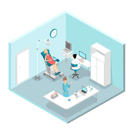 Pregnant women visiting doctor. Woman is examined by professional. Making analysis in the lab. Gynecology hospital interior. Isolated isometric vector illustration Ilustrace