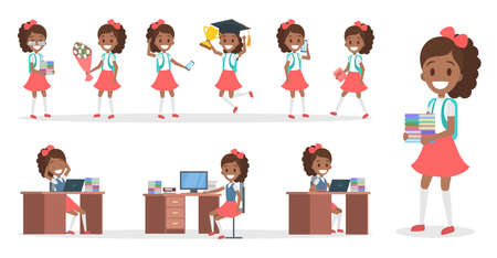 Pretty african american school kid female character set with various school tools, poses and gestures. Child study hard. Isolated vector illustration