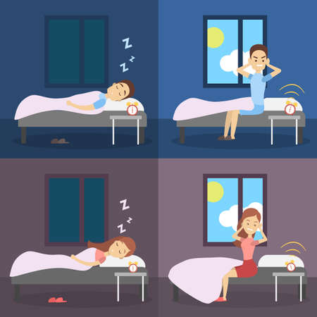 Set of woman and man sleeping in the bed and waking up with the sun in a bad mood. Stock Vector - 106321549