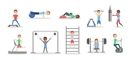 Set of fit people doing exercises in the gym. Lifting weight and doing cardio exercice. Sport, fitness and healthy lifestyle. Vector flat illustration