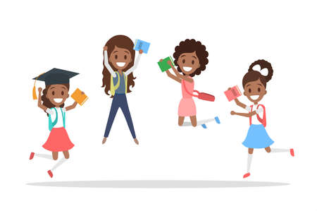 Set of cute little african american jumping school kids. Group of happy girls with bags and books having fun. Isolated flat vector illustration