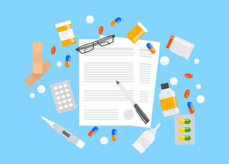 Krankenversicherungsformular. Pillen, die um das Papierdokument herum liegen. Vektorgrafik