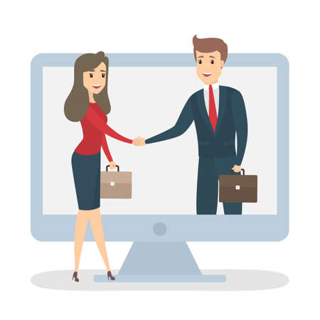 Online partner concept. Business people shaking hands. Idea of remote or distant teamwork and partnership.