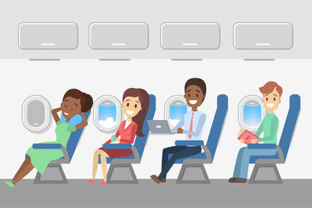 Passengers in the plane. Aircraft interior with happy young people in the seats. Travel and tourism. Flat vector illustration
