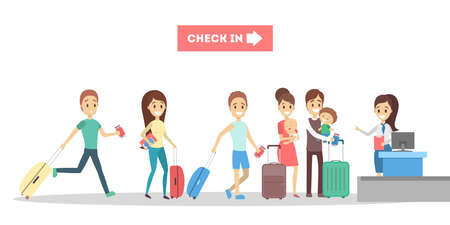 People standing with luggage and baggage in line at the airport check-in desk. Flat vector illustration Stock Illustratie
