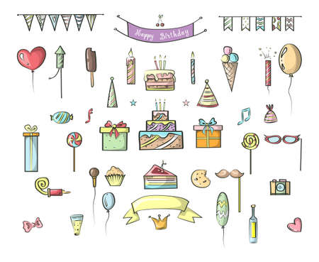 Set of hand drawn colorful birthday icons. Cute doodle collection with party hat, confetti and balloons. Isolated vector illustration