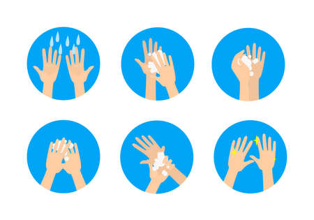 Hands washing medical instruction. Washing dirty palms with soap in the bathroom. Flat vector illustration