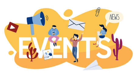 Events concept. Looking for upcoming events and news on calendar. Idea of social media. Isolated flat vector illustration 일러스트