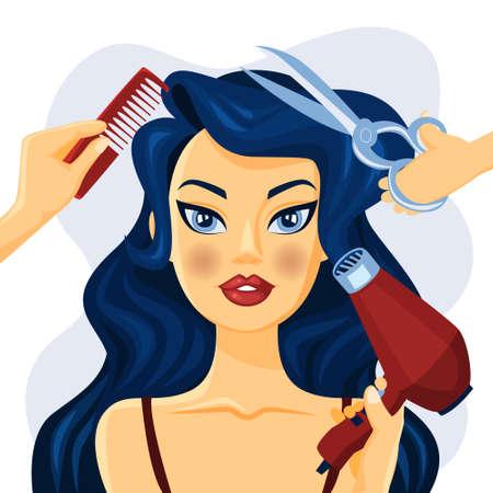Bella donna sorridente nel parrucchiere. Mani con forbici, spazzola e ventaglio che fanno acconciatura. Illustrazione vettoriale piatto isolato Vettoriali