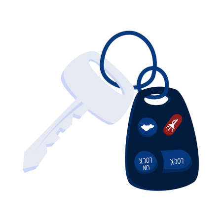 Car keys and alarm system. Access to automobile. Isolated flat vector illustration