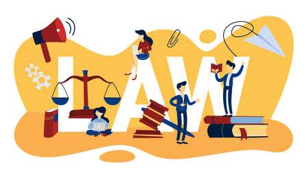 Nozione di diritto. Bilancia della giustizia. Illustrazione vettoriale piatto isolato