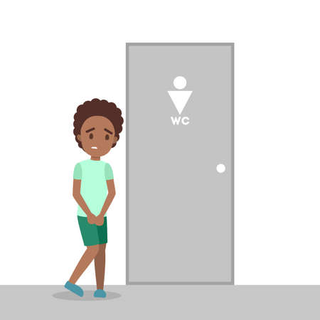 Stressed boy wants to pee. Male character with a full bladder standing at the closed WC door. Flat vector illustration