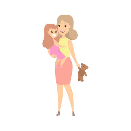 Happy mother and smiling child playing together. Family enjoy. Isolated flat vector illustration