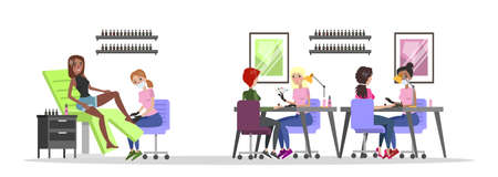 Manicure and pedicure salon interior. Woman sitting in the chairs and making professional manicure. Nail polish and painting. Beauty procedures. Isolated vector flat illustration Foto de archivo - 112010902