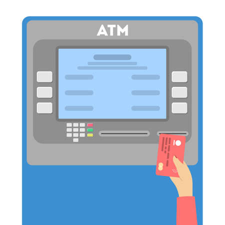 Female hand putting credit card in ATM. Financial operations or payment through ATM machine. Flat vector illustration 일러스트