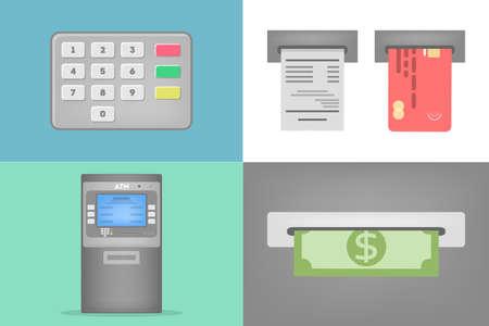 Conjunto de operaciones de cajeros automáticos. Marcando el código pin, inserte la tarjeta de crédito y retiro de efectivo. Operaciones financieras automáticas. Ilustración vectorial plana
