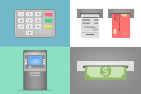 Set of ATM operations. Dialing pin code, insert credit card and cash withdrawal. Automatic financial operations. Flat vector illustration