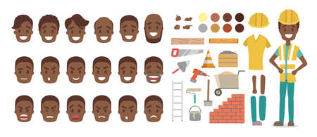 Cute male african american builder character in uniform set for animation with various views, hairstyles, face emotions, poses and equipment. Isolated vector illustration Illustration