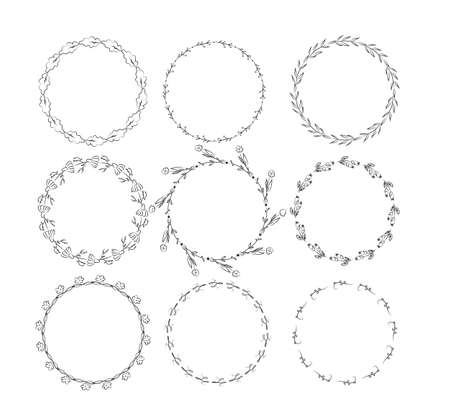 Beautiful monogram set with floral elements. Collection of hand drawn wreaths, and frames with flowers and leaves for invitation cards decoration. Isolated vector illustration
