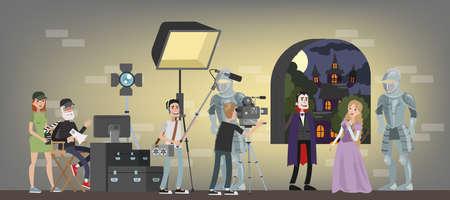 Film studio building interior. Shooting fantastic horror movie using camera, lights, microphones and other equipment. Making film concept. Vampire biting princess scene. Vector flat illustration