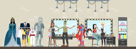 Film studio building interior. Actor in dressing room prepare for the movie scene, doing makeup and choosing clothes. Making film concept. Vector flat illustration
