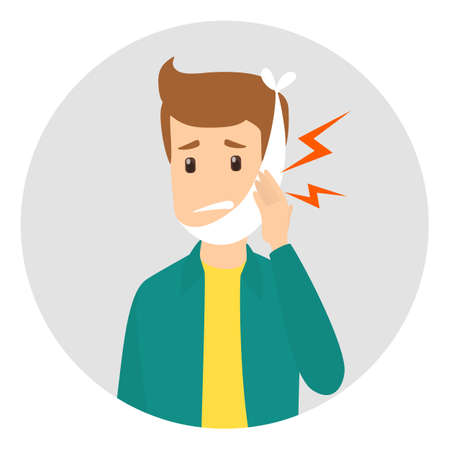 Sad man suffering from a strong toothache. Patient touching his cheeck and feel the pain. Isolated vector illustration in cartoon style